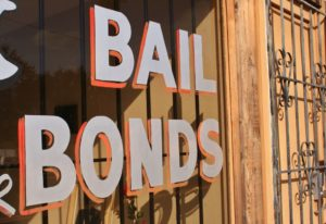Bail bonds sign on window