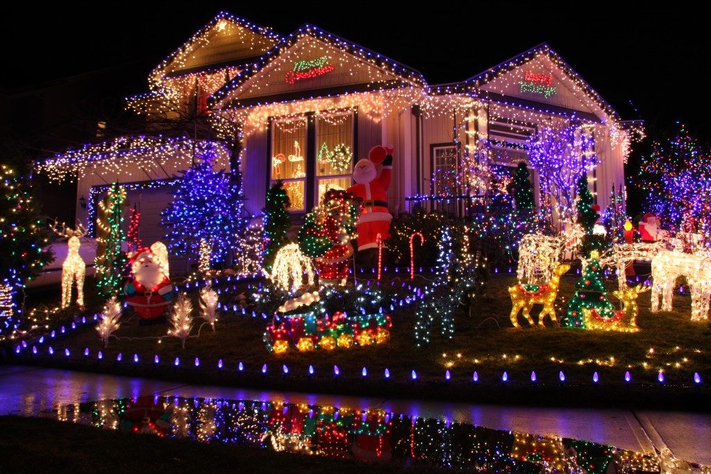 House filled with Christmas lights