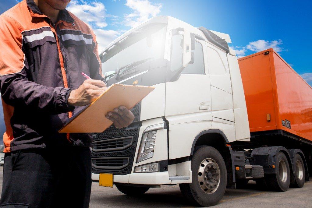 logistics man and his truck