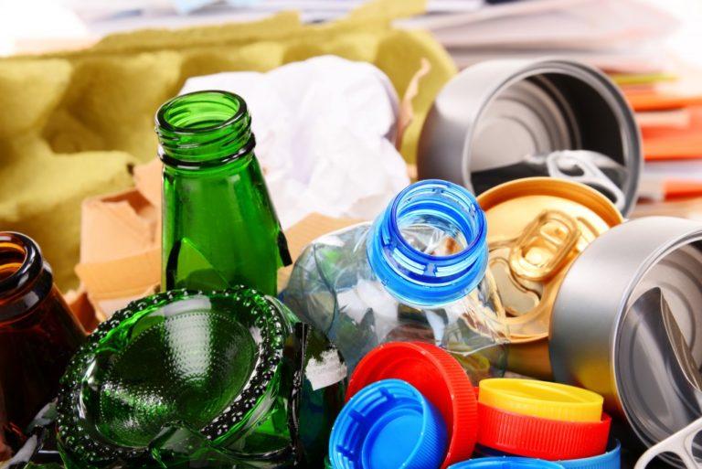 trash in the recycling bin