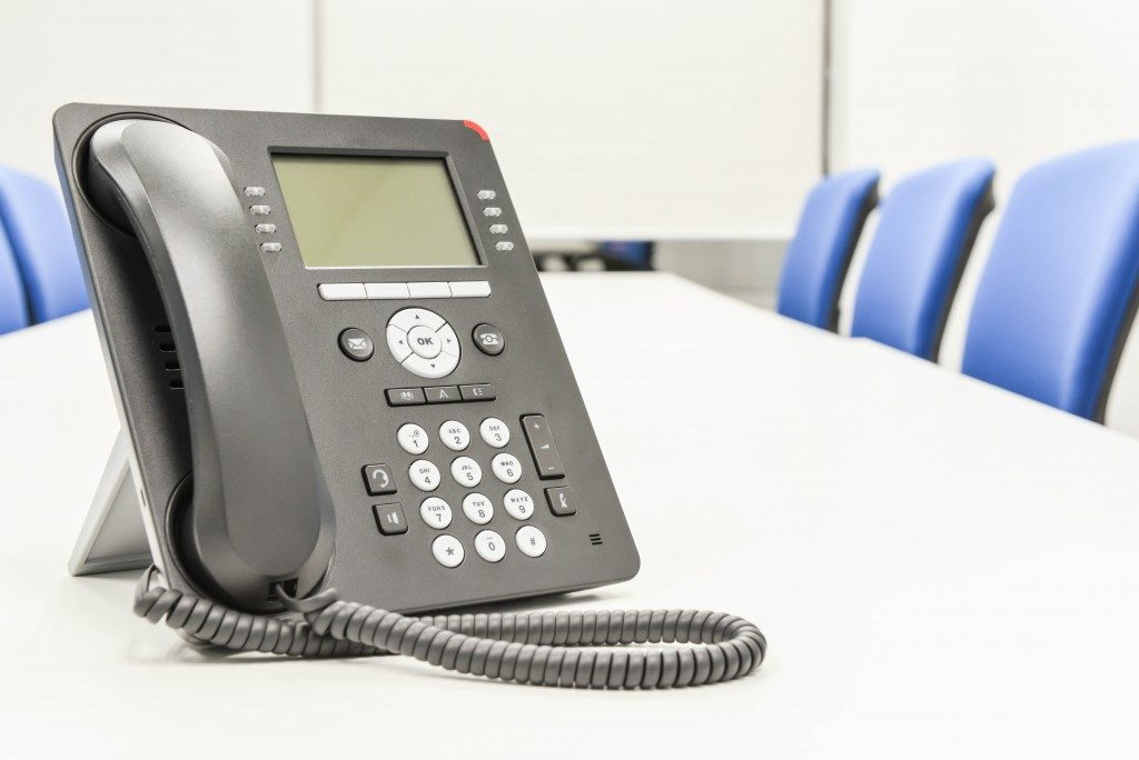 digital telephone in a conference room