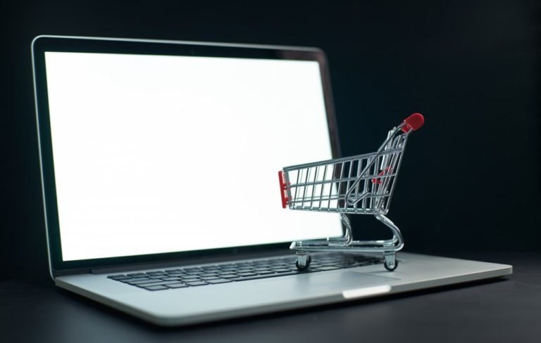 shopping cart on laptop