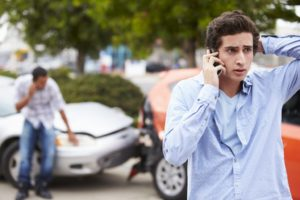 Man on the phone post-accident