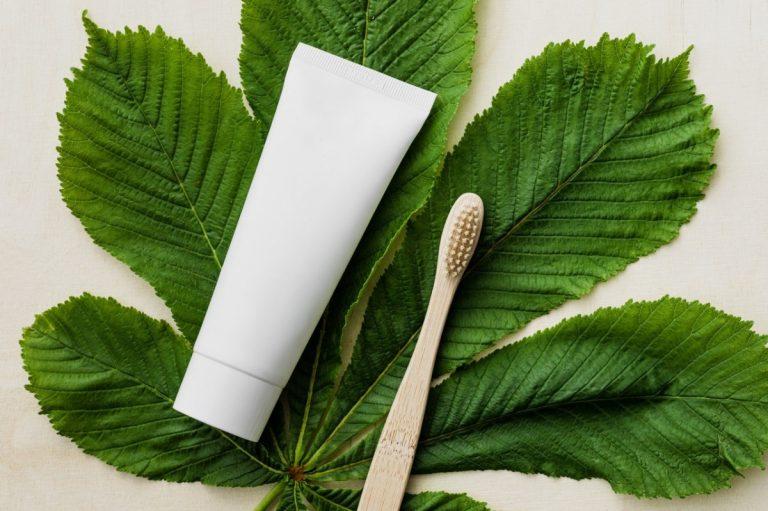 hygiene products on a leaf